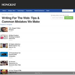 Writing For The Web: Tips & Common Mistakes We Make - Hongkiat