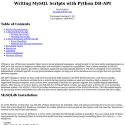 Writing MySQL Scripts with Python DB-API