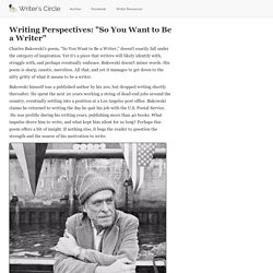 "Writing Perspectives: ""So You Want to Be a Writer"""