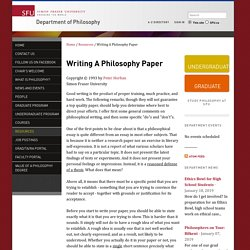 Writing A Philosophy Paper - Department of Philosophy