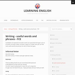 Writing - useful words and phrases - FCE