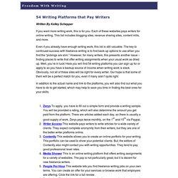 » 54 Writing Platforms that Pay Writers