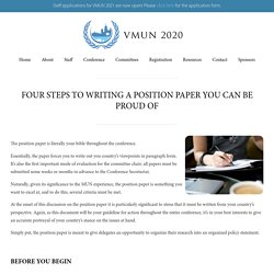 Four Steps to Writing a Position Paper You Can Be Proud Of – Vancouver Model United Nations