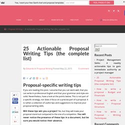 Writing tips for project proposals