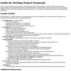 Guide for Writing Project Proposals