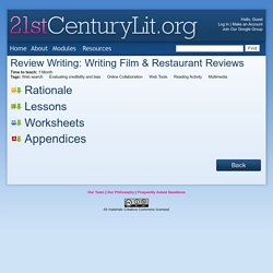 Review Writing: Writing Film & Restaurant Reviews - 21st Century Literacy