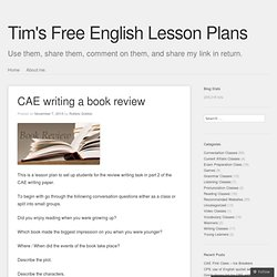 Tim's Free English Lesson Plans