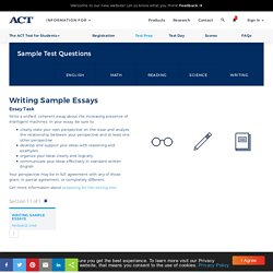The ACT Writing Sample Essays - Test Preparation