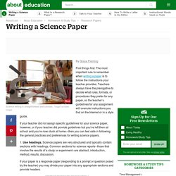 Tips for Writing a Science Report / Paper