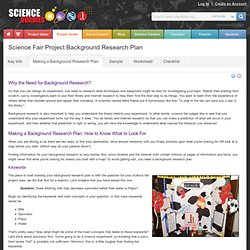 Writing a Science Fair Project Research Plan