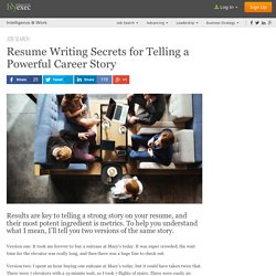 Resume Writing: Quantify Your Stories
