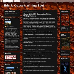 Master List of My Speculative Fiction Writing Prompts