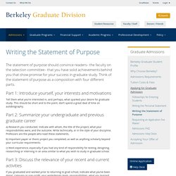 Writing the Statement of Purpose