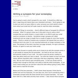Writing a synopsis for your screenplay