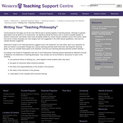 "Writing Your ""Teaching Philosophy"""