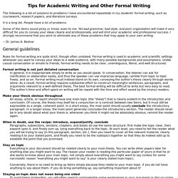 Tips for Formal Writing, Technical Writing, and Academic Writing