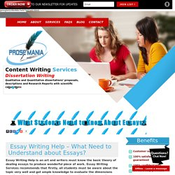 Essay Writing Help - What Need to Understand about Essays?