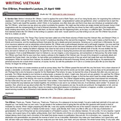 Writing Vietnam - Tim O'Brien Lecture Transcript