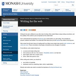 Writing for the web - Monash University