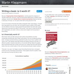 Writing a book: is it worth it? — Martin Kleppmann's blog