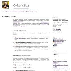 Writings/Écrits : Cédric Villani
