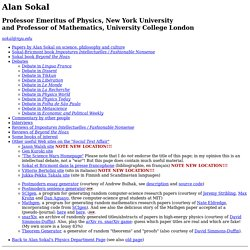 Alan Sokal's writings on science, philosophy and culture