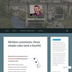 Written comments: three simple rules (and a fourth) – James Durran