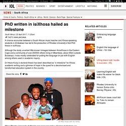 PhD written in isiXhosa hailed as milestone