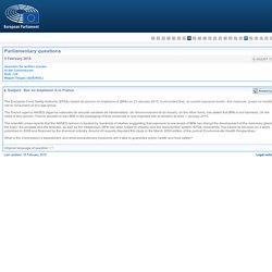 PARLEMENT EUROPEEN - Réponse à question E-002007-15 Ban on bisphenol A in France
