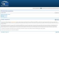PARLEMENT EUROPEEN - Réponse à question E-006404-15 Bisphenol A