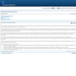 PARLEMENT EUROPEEN - Réponse à question E-002477-13 Horsemeat scandal