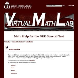 WT Virtual Math Lab - GRE Math Help