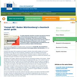 'CompA RE': Baden Württemberg's cleantech sector guide - Eco-innovation Action Plan