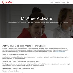 McAfee.com/Activate - Enter your code - www.mcafee.com/activate