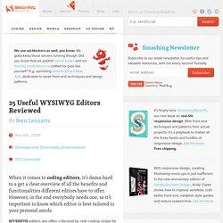 25 Useful WYSIWYG Editors Reviewed - Smashing Magazine
