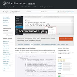 ACF WYSIWYG Styling « WordPress Plugins