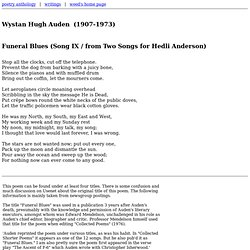 Wystan Hugh Auden - Funeral Blues