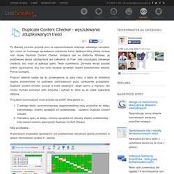 Duplicate Content Checker - wyszukiwanie zduplikowanych treści