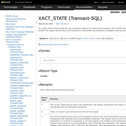 XACT_STATE (Transact-SQL)