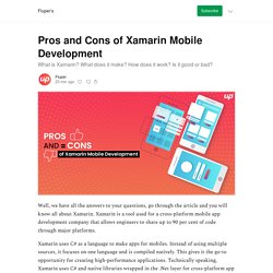 Pros and Cons of Xamarin Mobile Development - Fluper's