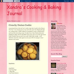 Xandra's Cooking & Baking Journal: Crunchy Durian Cookie