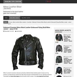 Xelement Mens Embossed Flying Skull Leather Biker Jacket