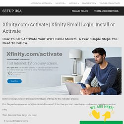 Xfinity Email Login, Install or Activate