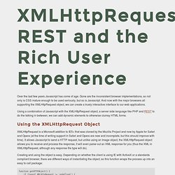 XMLHttpRequest, REST and the Rich User Experience