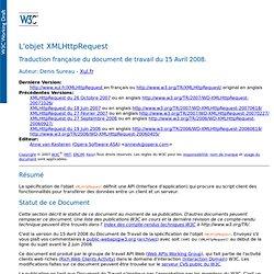 XMLHttpRequest, spécification de l'objet par le W3C