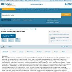 IEEE Xplore Document - Toward unique identifiers
