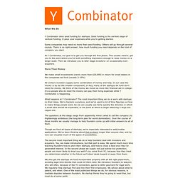 Y Combinator: What We Do