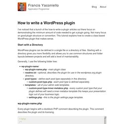 How to write a WordPress plugin – Francis Yaconiello – Application Programmer