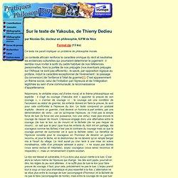 Sur le texte de Yacouba de Thierrry Dedieu par Nicolas Go
