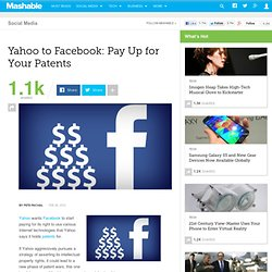 Yahoo To Facebook: Pay Up for Your Patents